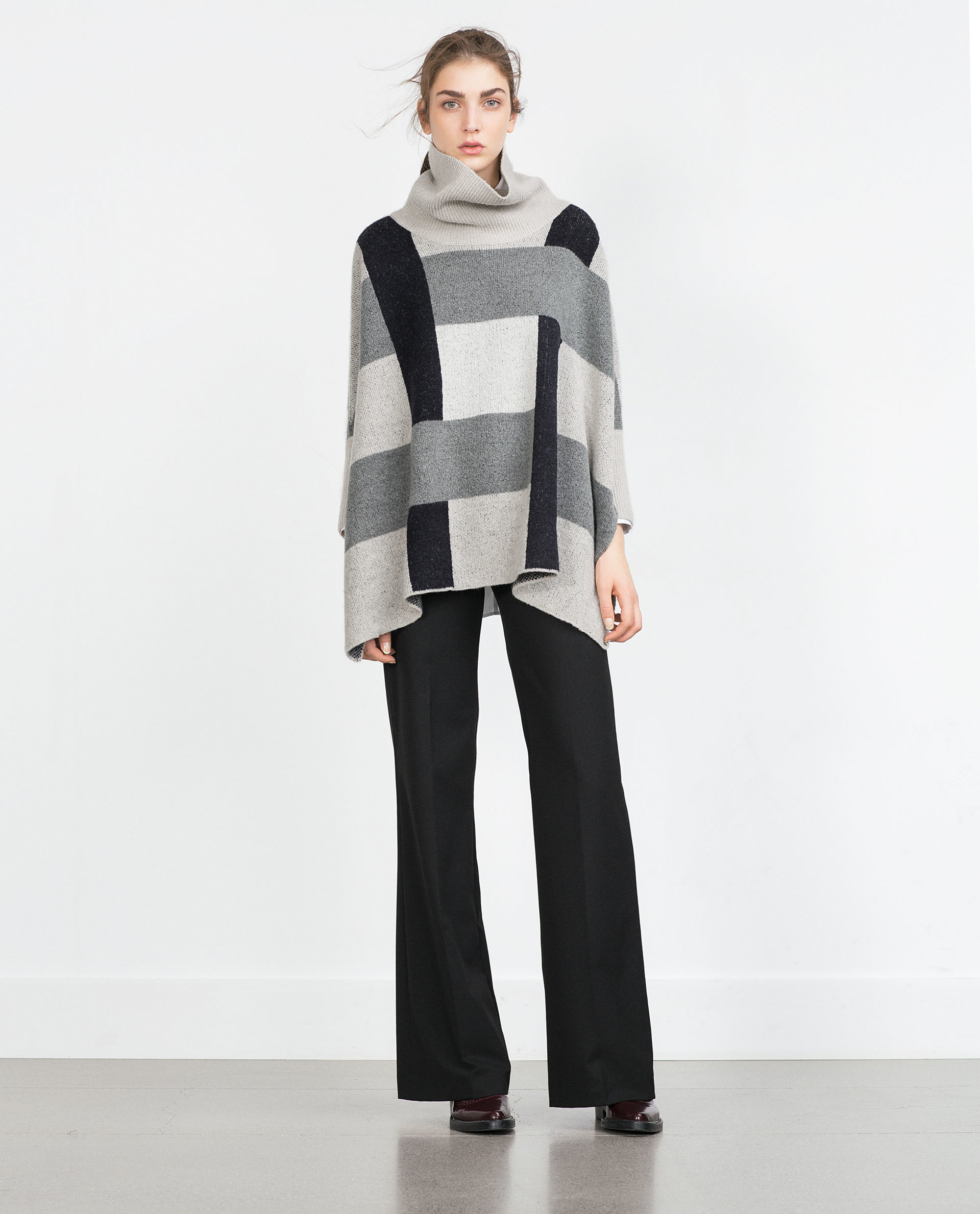 Zara Grey Ribbed Sweater With Side Slits 108