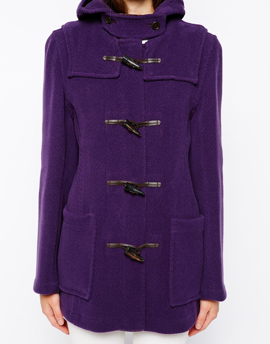 Gloverall Hooded Duffle Coat in Purple | Lyst