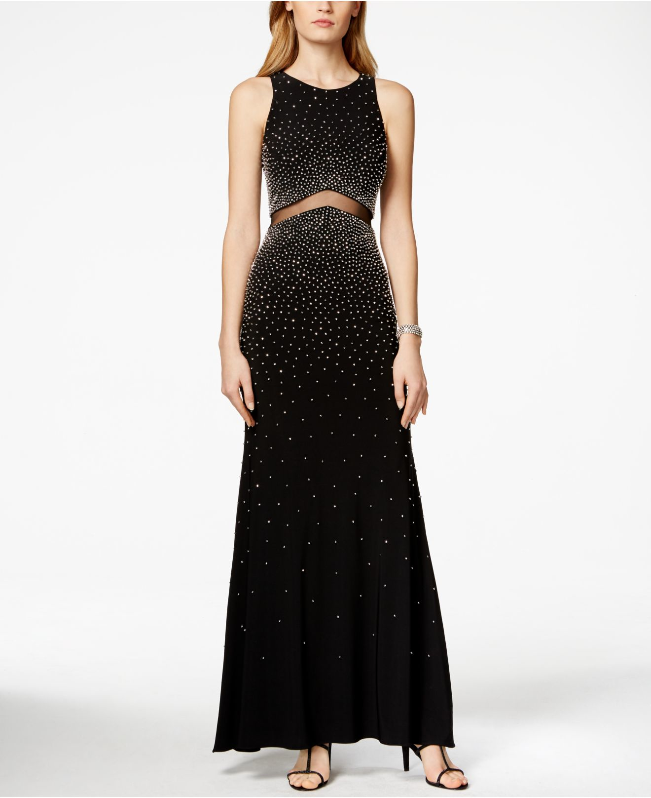 xscape sleeveless beaded illusion dress in black lyst