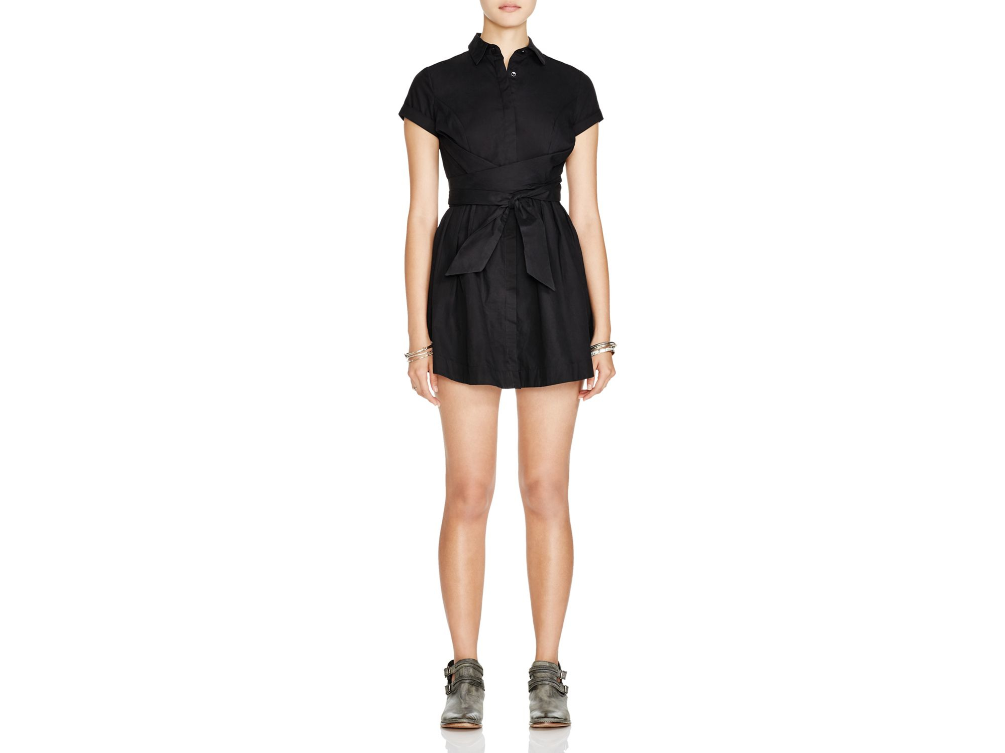Lyst Free People Wrapped Up In Poplin Dress In Black