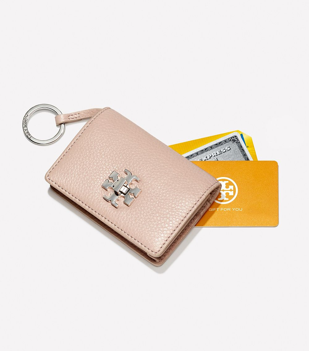 Tory burch Mercer Foldable Card Case with Key Ring in Pink | Lyst