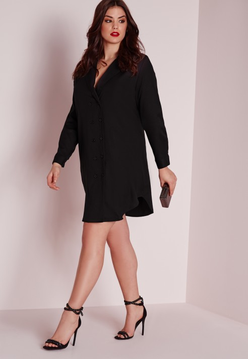 Missguided Plus Size Tux Shirt Dress Black in Black | Lyst