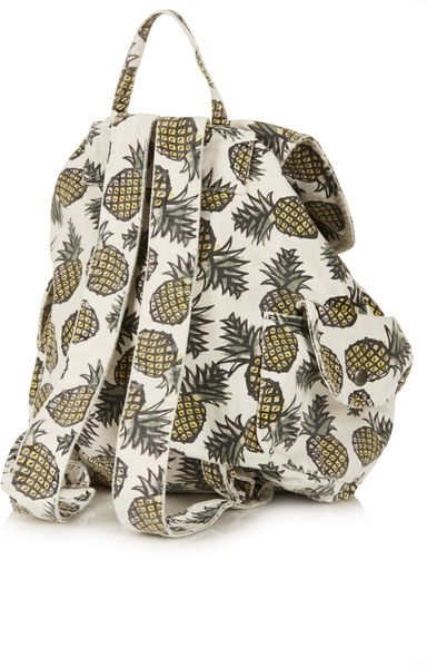 Topshop Pineapple Print Backpack In Yellow Lyst