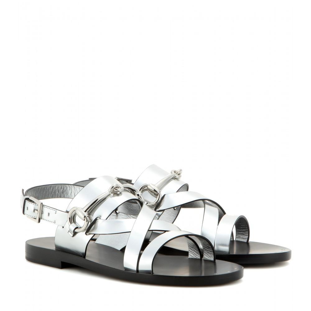 Lyst Gucci Glow Light Metallic Leather Sandals In Metallic
