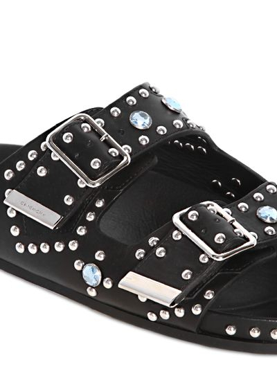b5aea848f8bf Lyst - Givenchy Swiss Studded Leather Slide Sandals in Black for Men