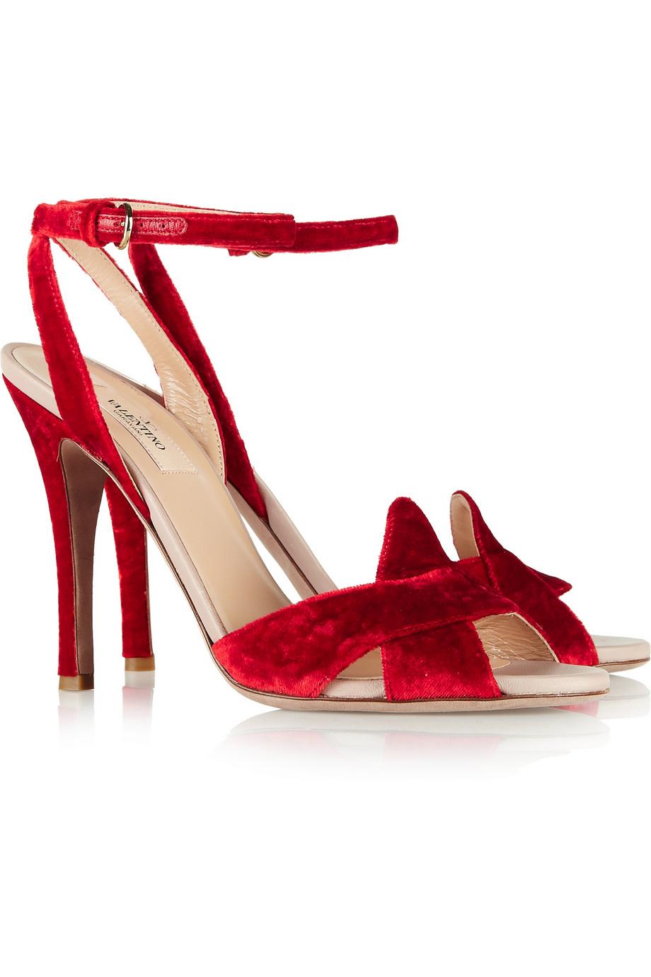 27182b6798be Lyst - Valentino Velvet Sandals in Red