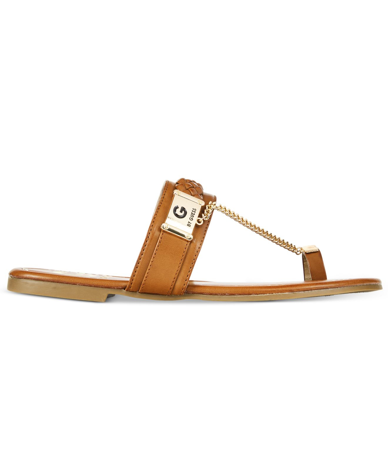G By Guess Limitt Chained Flat Sandals In Brown Light