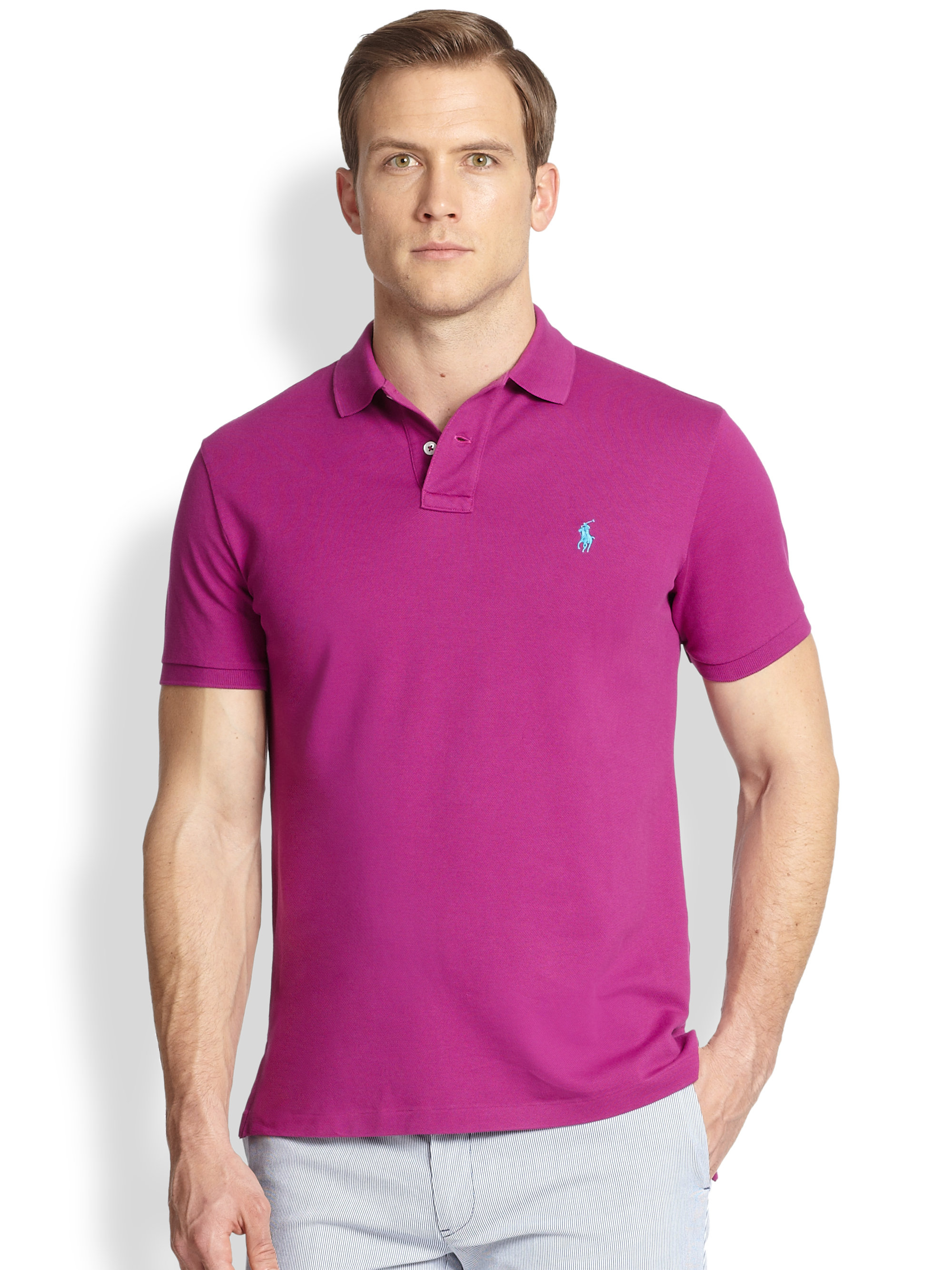 Lyst - Polo Ralph Lauren Custom-Fit Stretch-Mesh Polo in Purple for Men facc6dfe6a9f