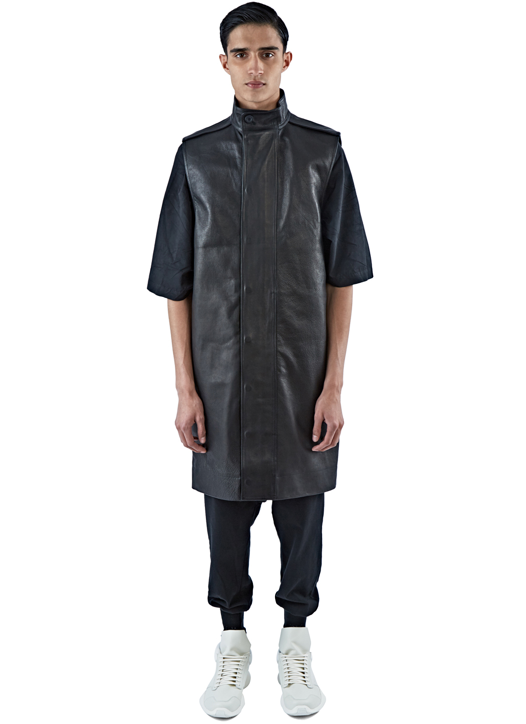 Rick owens Men's Long Sleeveless Leather Parka Jacket In Black in ...