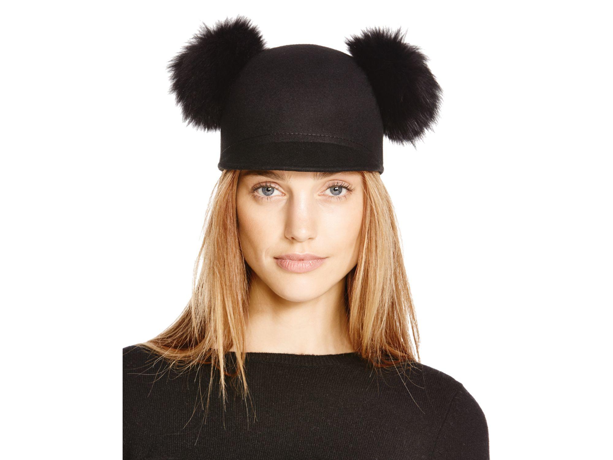 Lyst - Bettina Wool Cap With Fox Fur Pom-poms in Black f319ce47f45