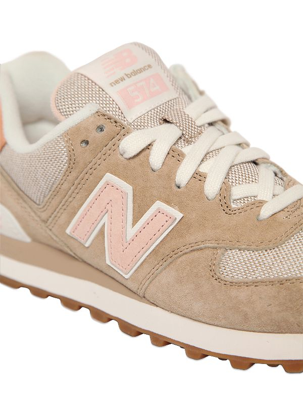 New Balance Natural 574 Suede and Canvas Low Top Sneakers
