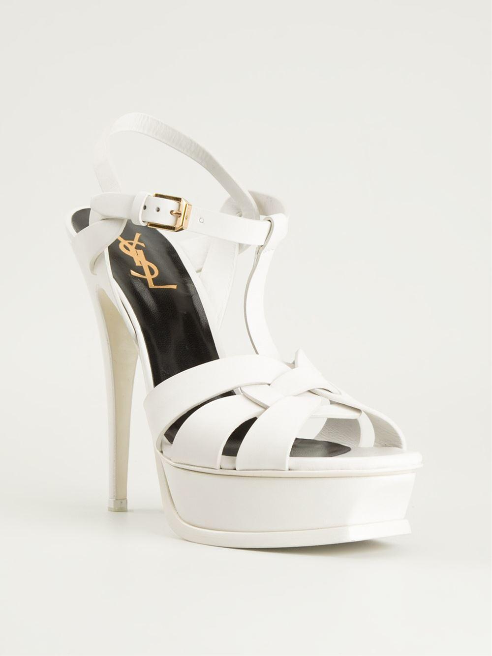 Saint Laurent Tribute Sandals In White Lyst