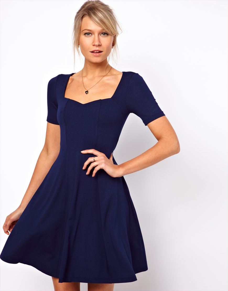 Asos Skater Dress With Sweetheart Neck And Short Sleeves in Blue ...