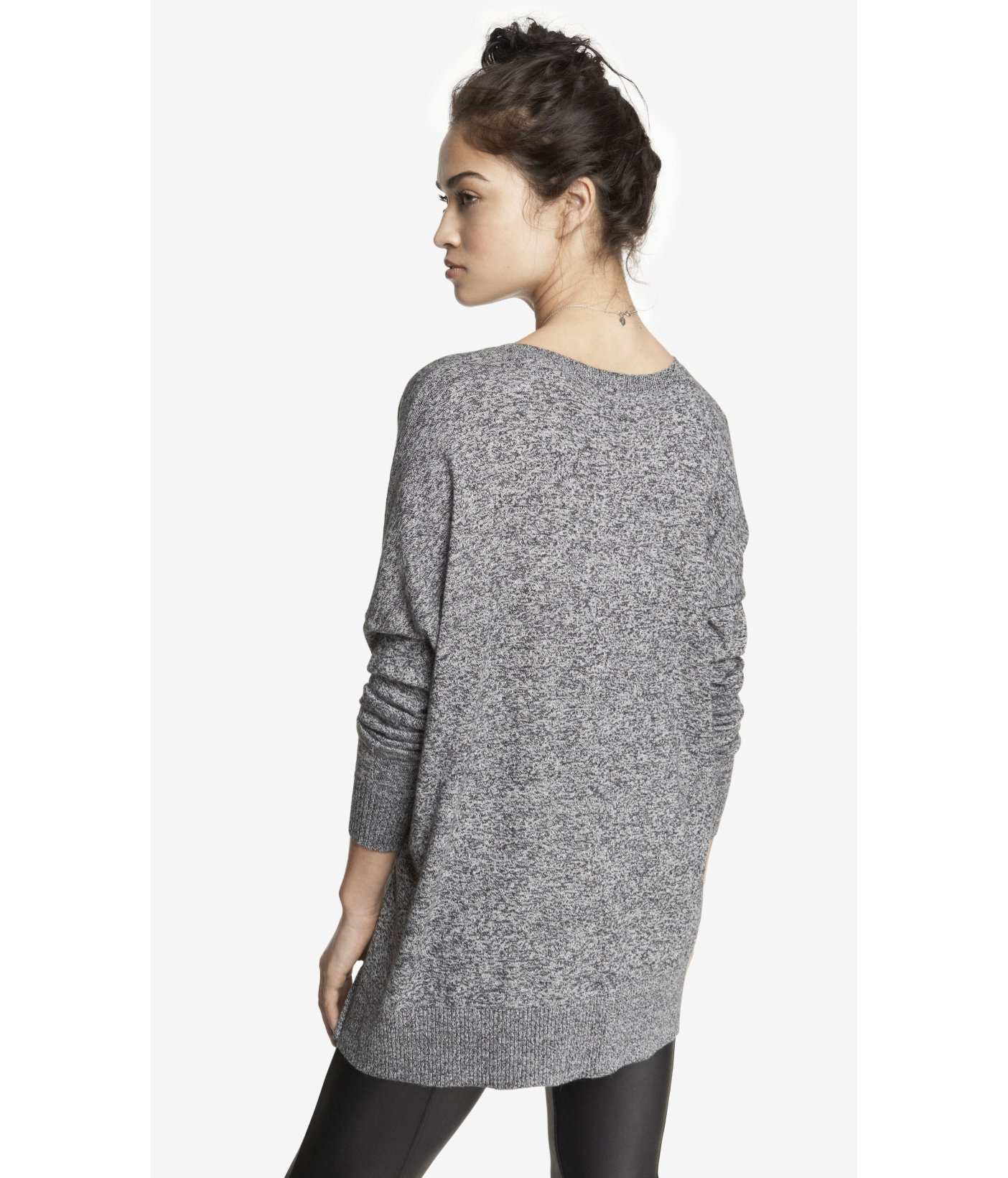 Express Marled V-Neck Double Zip Vent Tunic Sweater in Black | Lyst