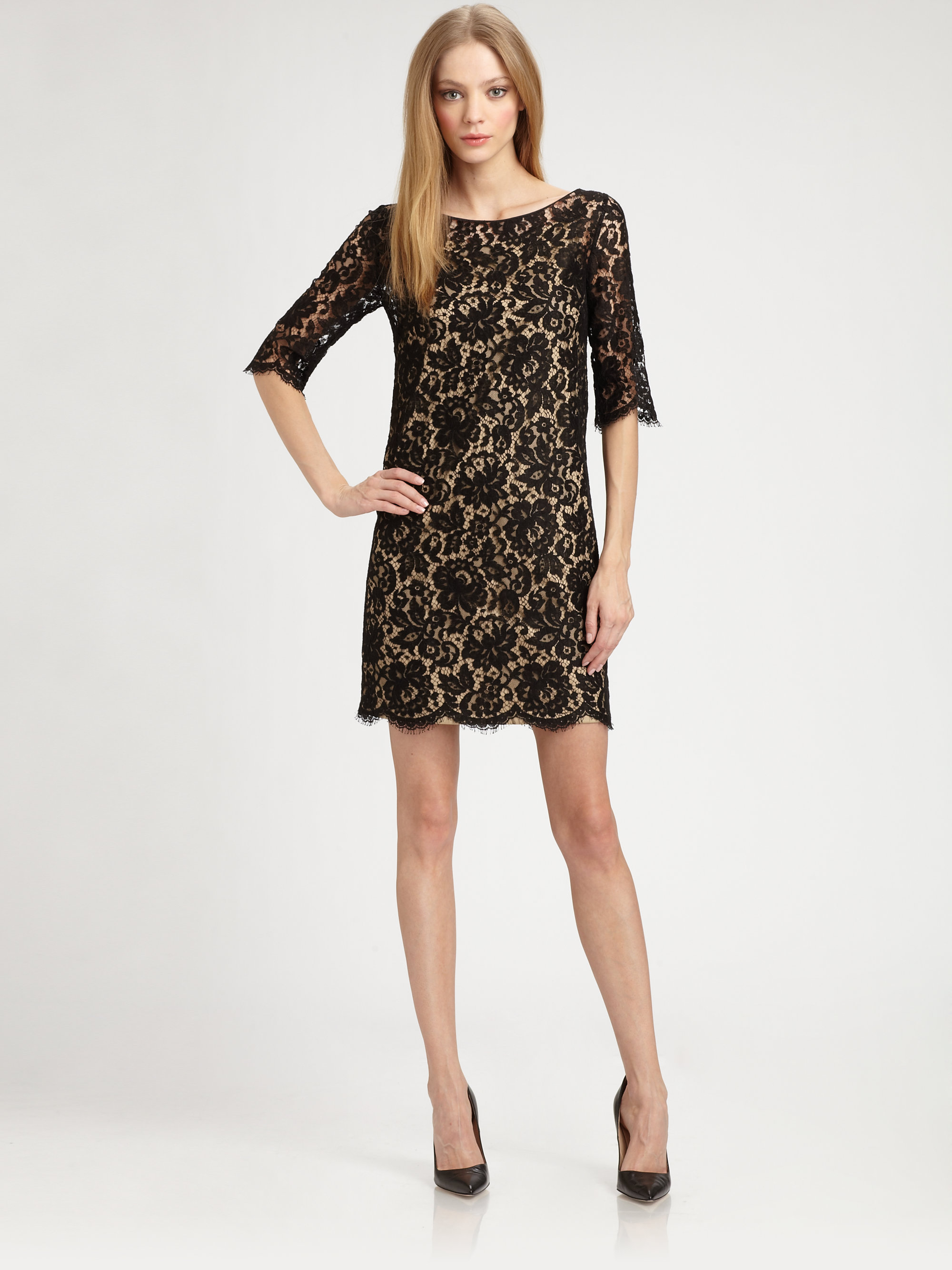 27eeb659fe4f Robert Rodriguez Lace Shift Dress in Black - Lyst