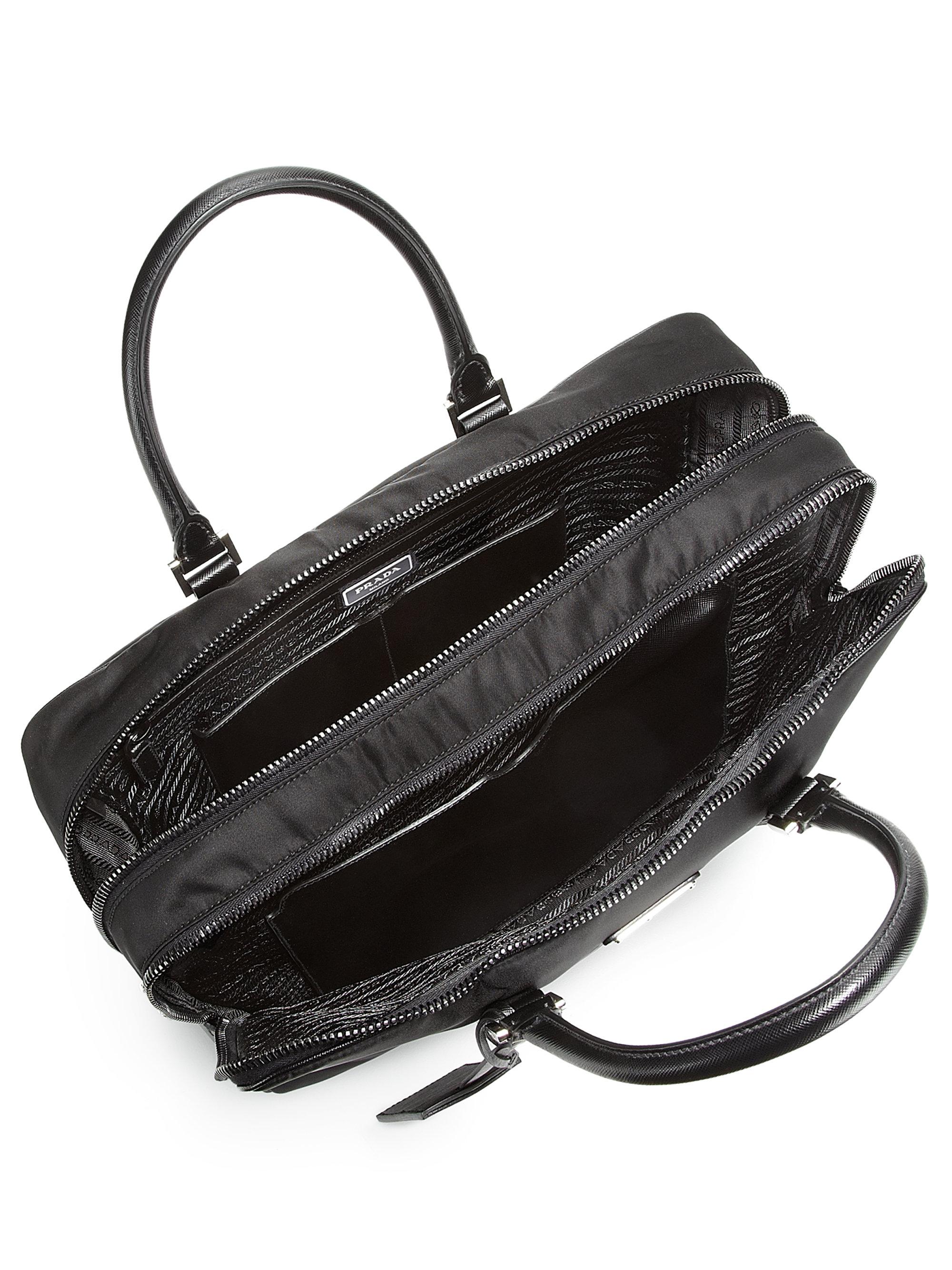 Prada Nylon Saffiano Computer Briefcase In Black For Men