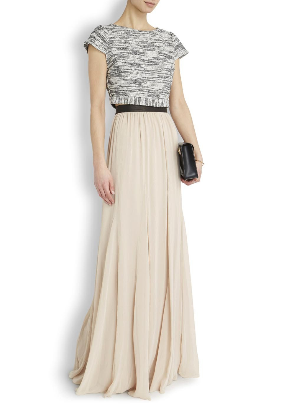 Alice   olivia Dawn Cream Pleated Chiffon Maxi Skirt in Natural | Lyst