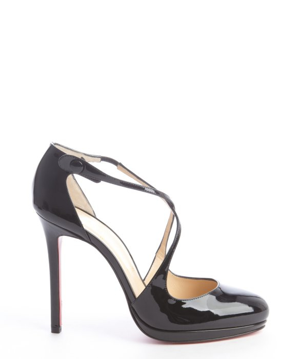 christian louboutin peep-toe platform pumps Black leather cross ...