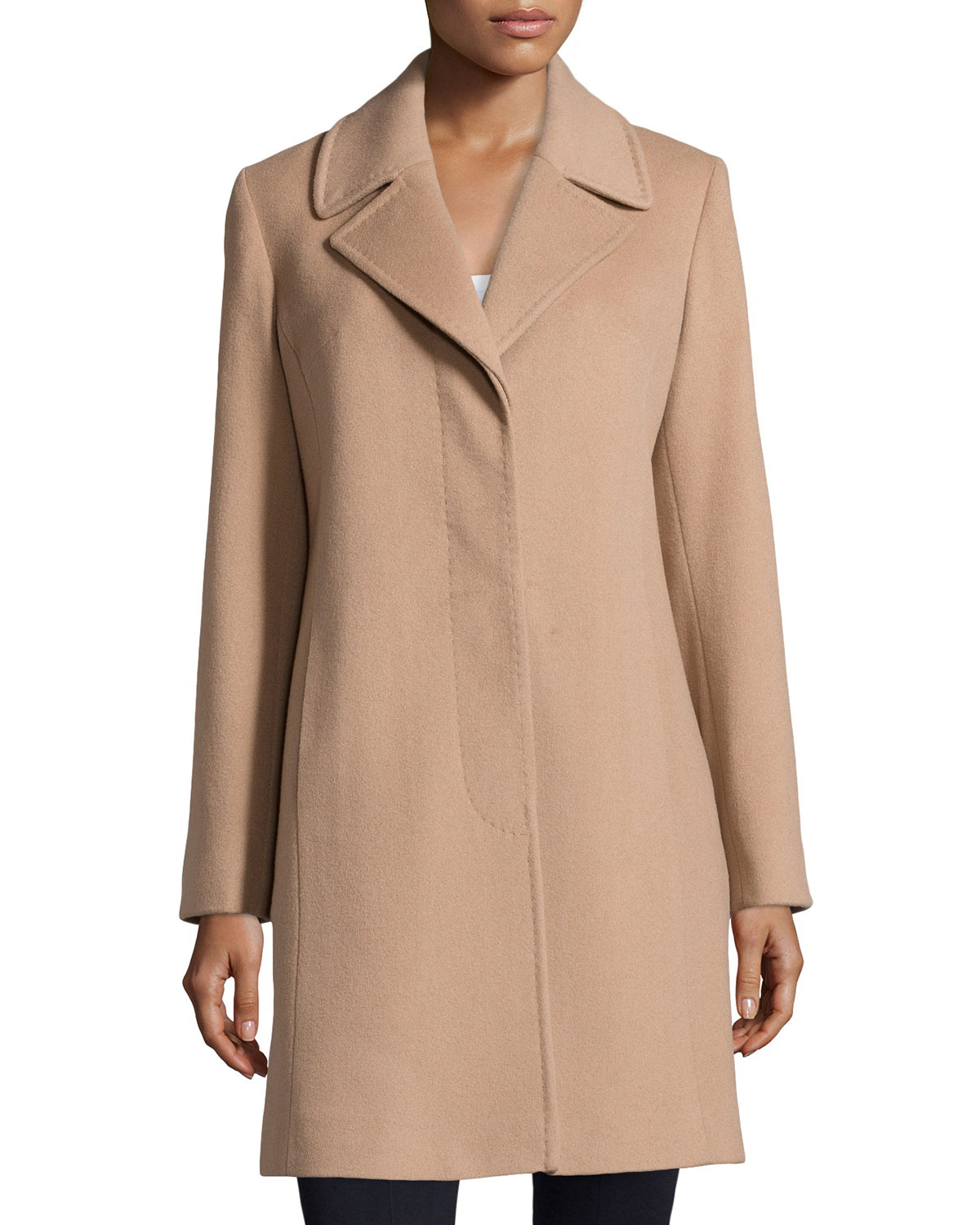 Fleurette Hidden-Button Wool-Blend Coat in Natural