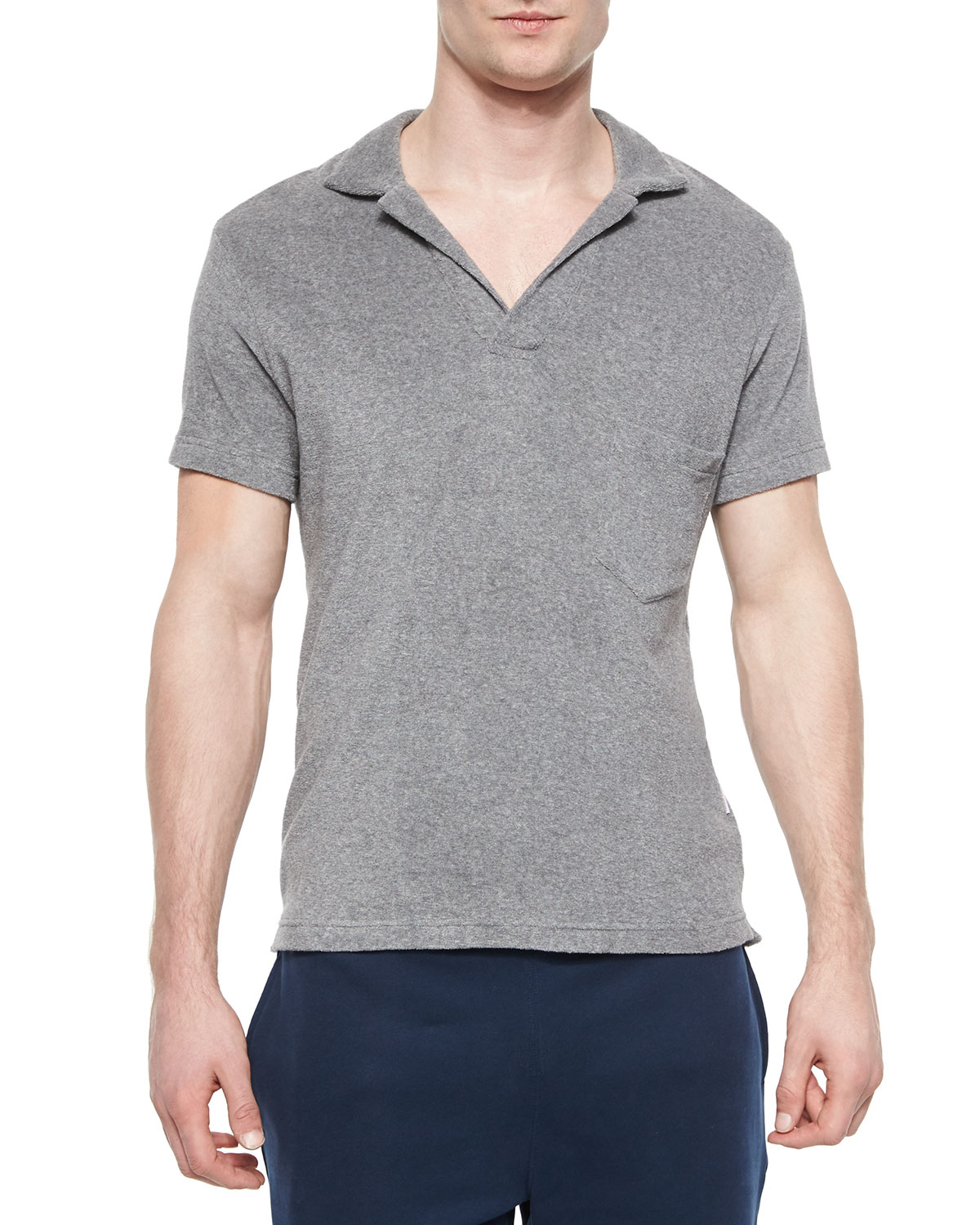 Orlebar brown terry short sleeve polo shirt in gray for for Mens terry cloth polo shirt