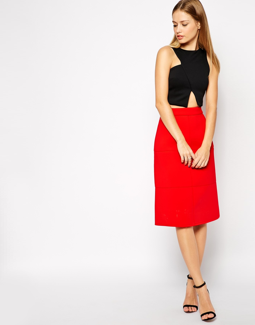 Asos A-line Skirt In Bonded Scuba in Red | Lyst