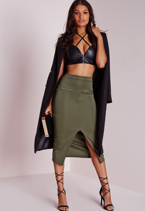 Missguided Longline Zip Midi Skirt Khaki in Green | Lyst