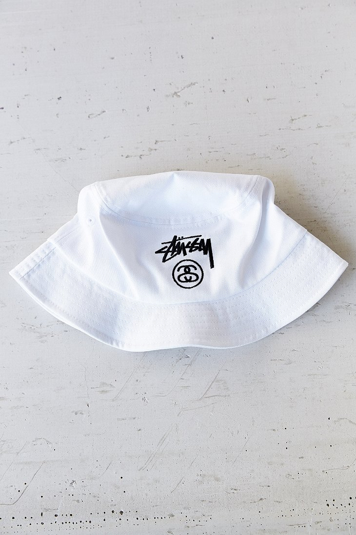b421a02b423 Lyst - Stussy Stock Lock Bucket Hat in White for Men