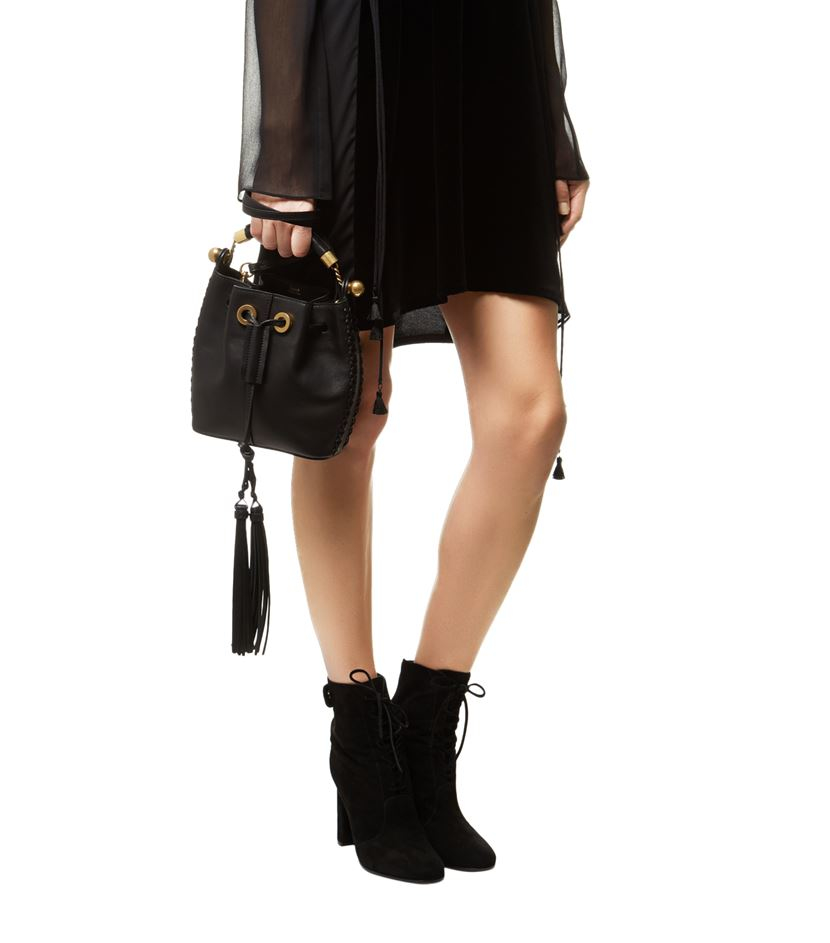 purse chloe - small gala bucket bag in smooth white calfskin