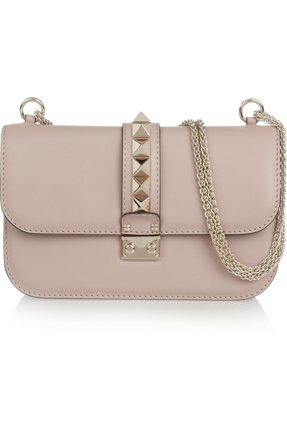 valentino glam lock medium leather shoulder bag in beige blush lyst. Black Bedroom Furniture Sets. Home Design Ideas