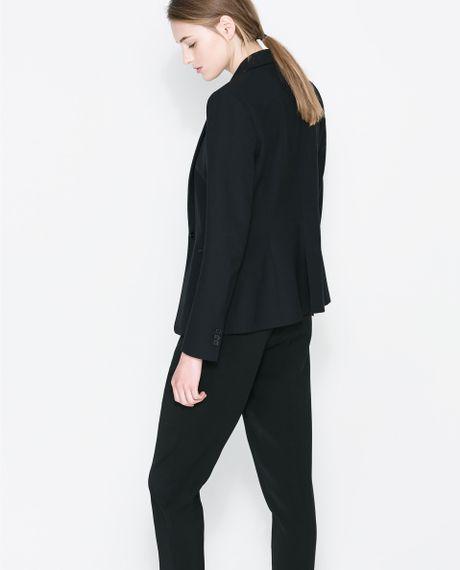 Zara Blazer With Faux Leather Lapel In Black Lyst