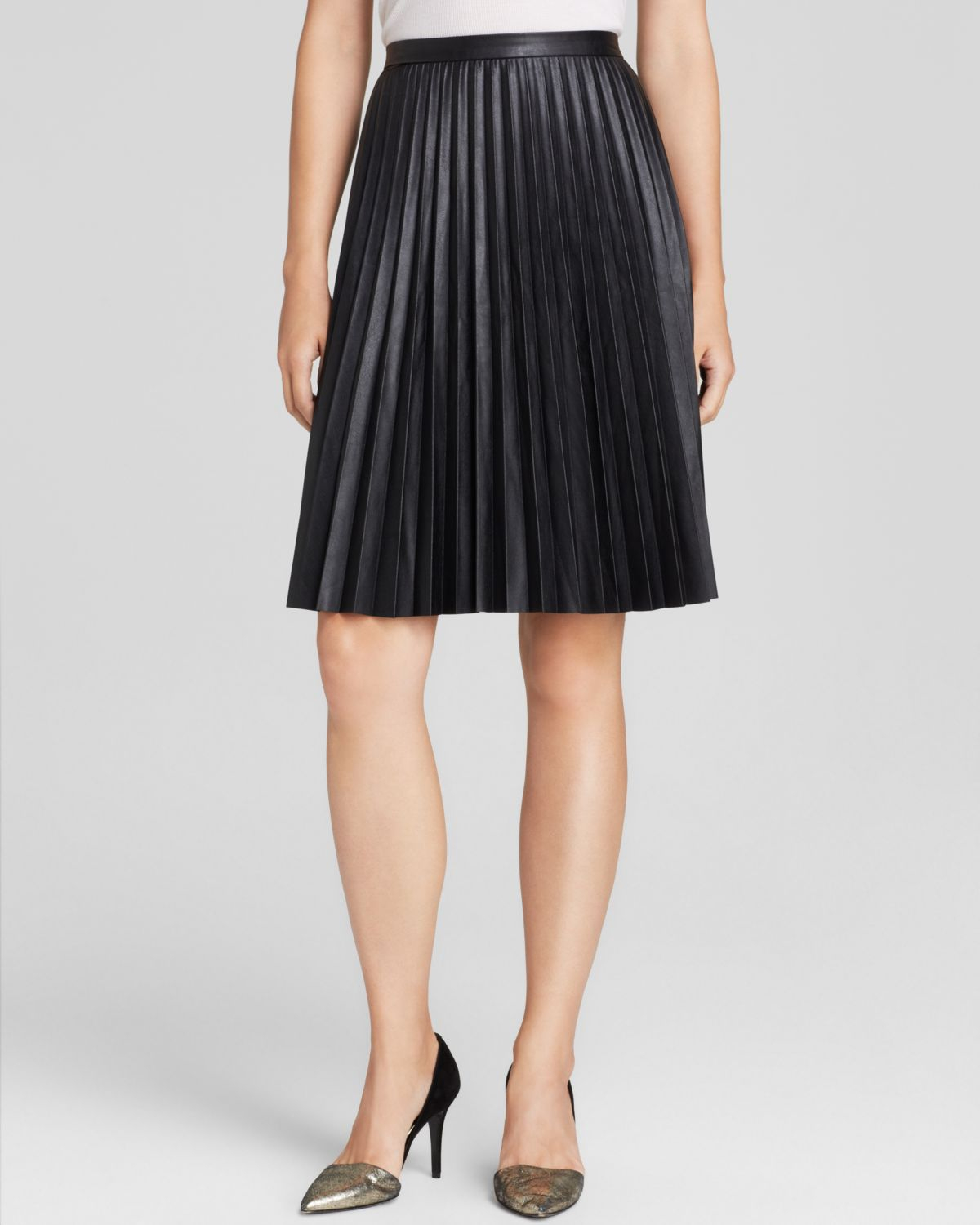 calvin klein faux leather pleated skirt in black lyst