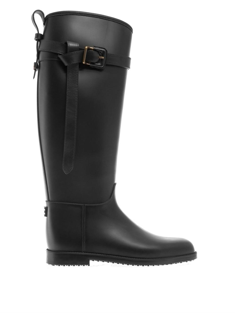 Burberry brit Belted Equestrian Rain Boots in Black | Lyst