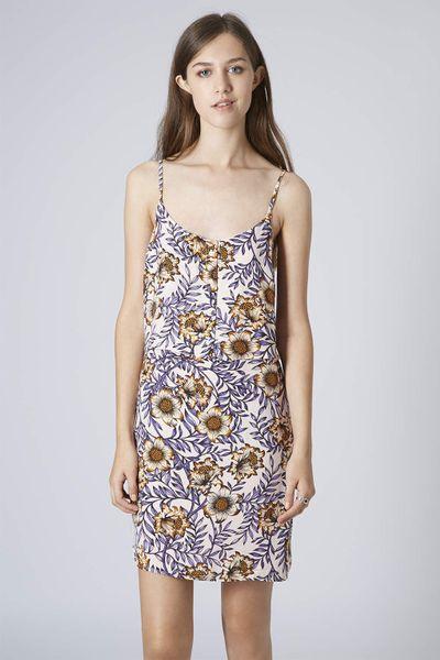 Topshop Womens Petite Morris Floral Slip Dress Peach In