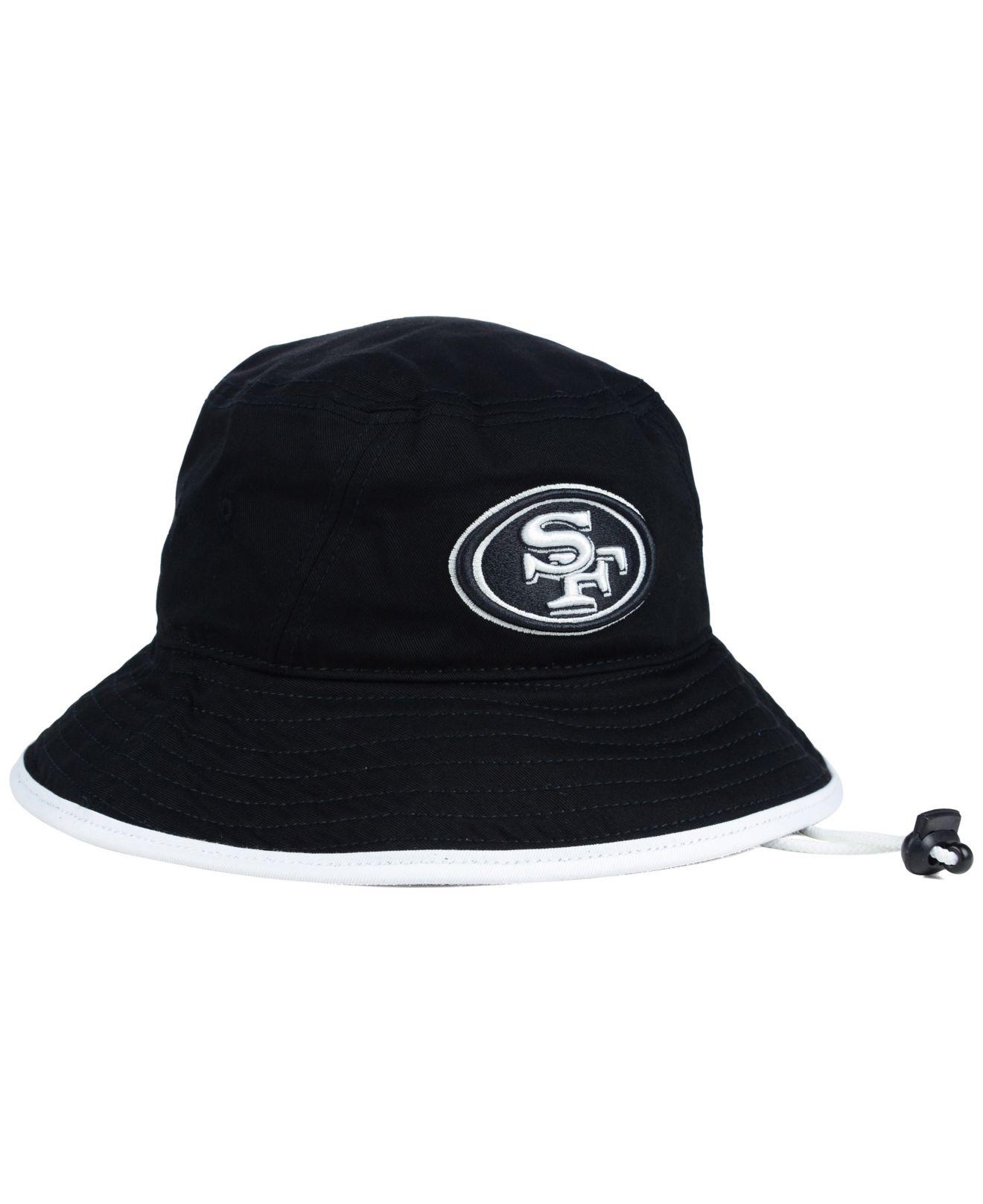 282188c4 official store lyst ktz san francisco 49ers nfl black white bucket hat in  black 7207c d2063