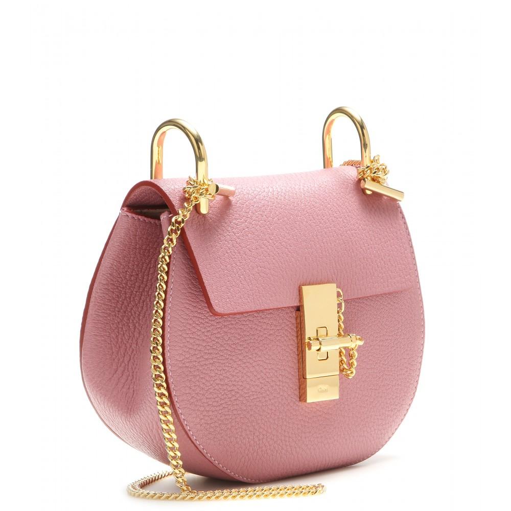 chlo drew small leather shoulder bag in pink lyst. Black Bedroom Furniture Sets. Home Design Ideas