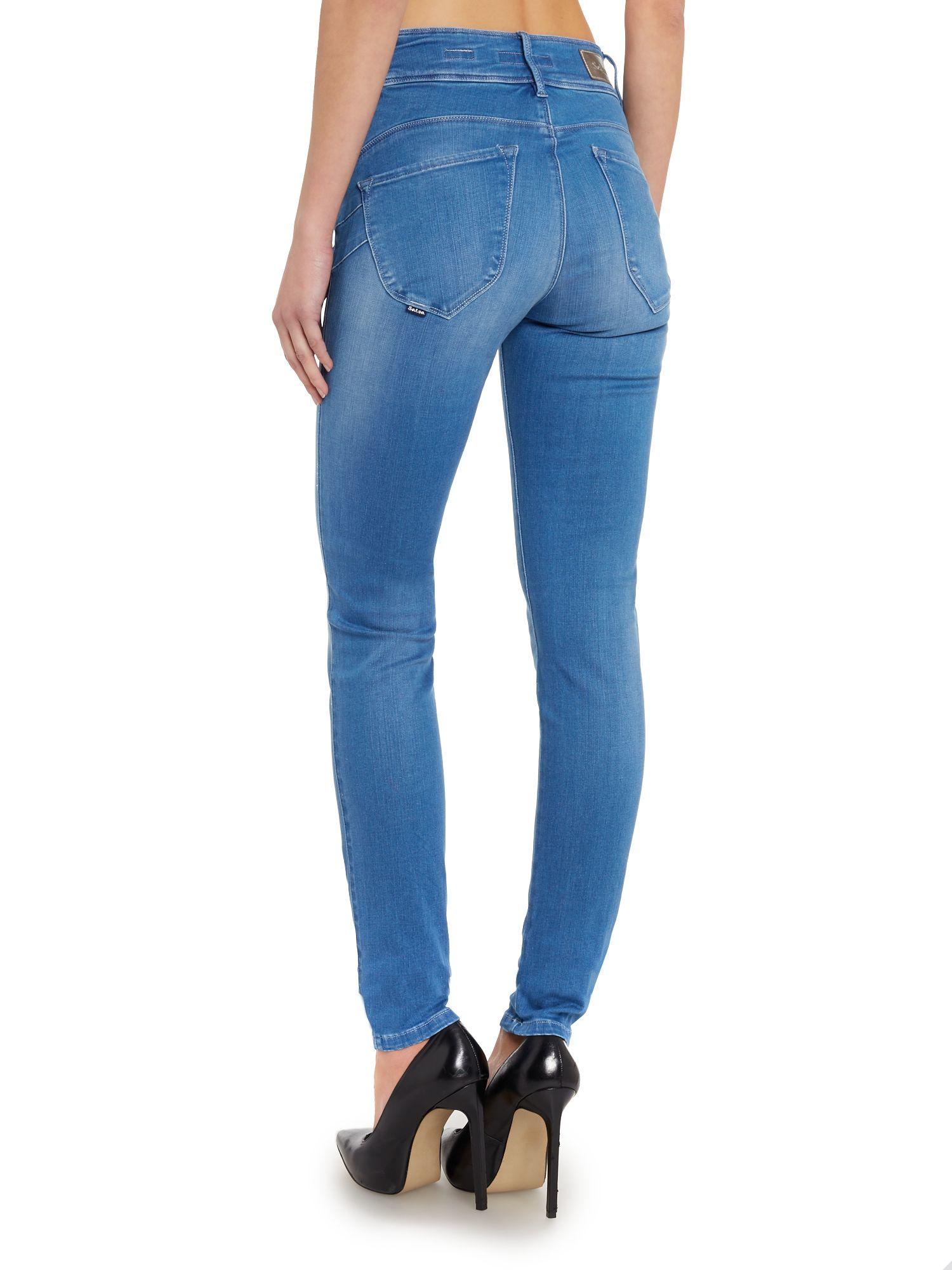 lyst salsa secret push in skinny jeans in blue. Black Bedroom Furniture Sets. Home Design Ideas