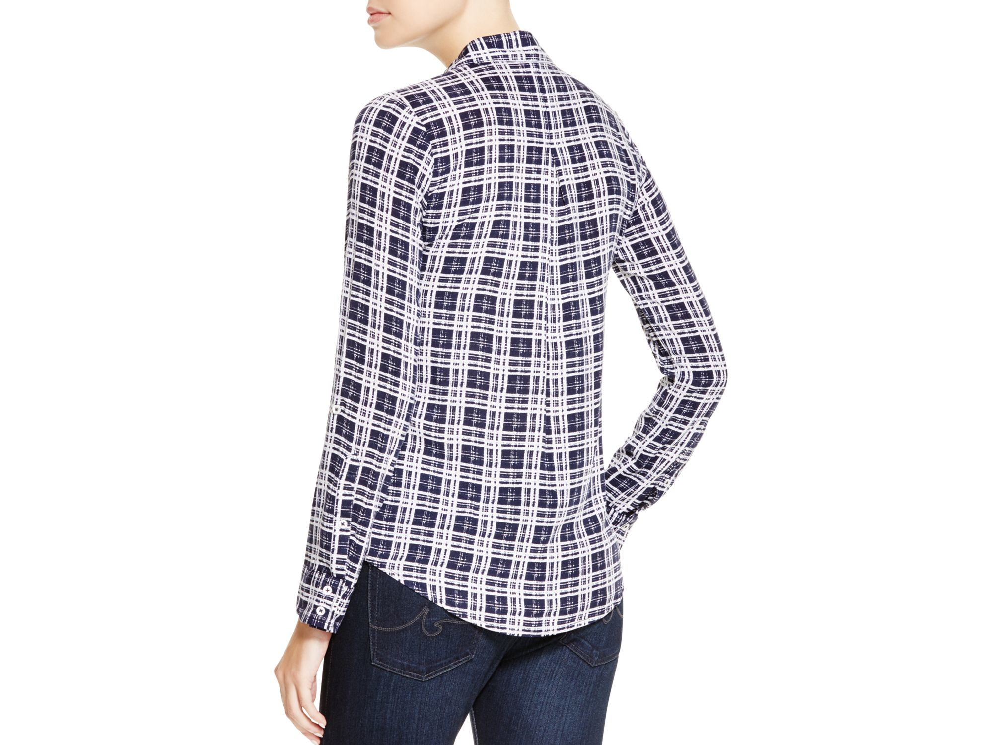 Lyst soft joie onyx plaid shirt in white for Soft joie plaid shirt