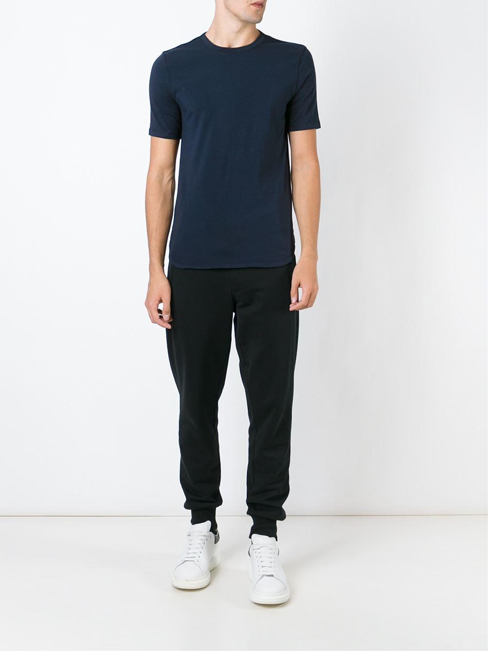 helmut lang round neck t shirt in blue for men lyst. Black Bedroom Furniture Sets. Home Design Ideas