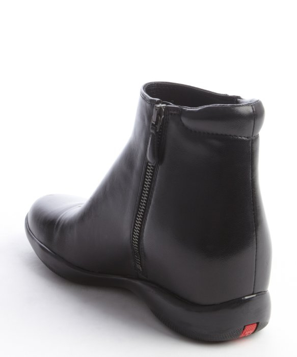 Lyst Prada Black Leather Side Zip Ankle Boots In Black