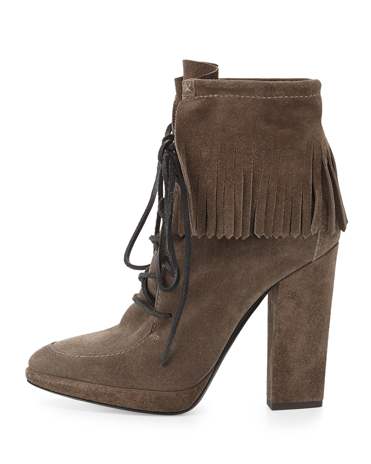 Lyst - Giuseppe Zanotti Lace-Up Suede Fringed Boots in Gray fe0ff1d6100e