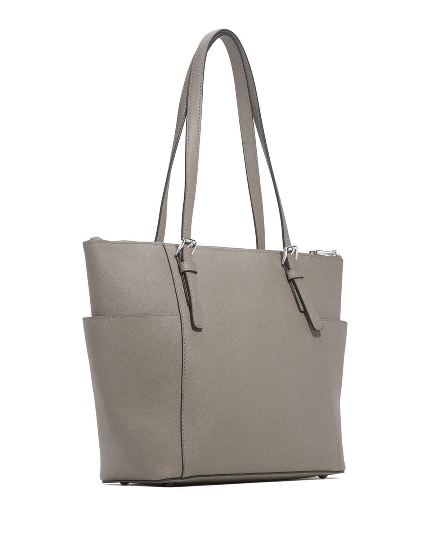 Lyst - MICHAEL Michael Kors Jet Set Top-Zip Saffiano Tote Bag in Gray 72cf6c0a3ec