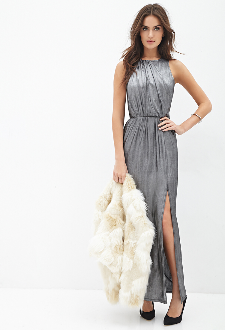 Lyst Forever 21 Contemporary Metallic Knit Maxi Dress In
