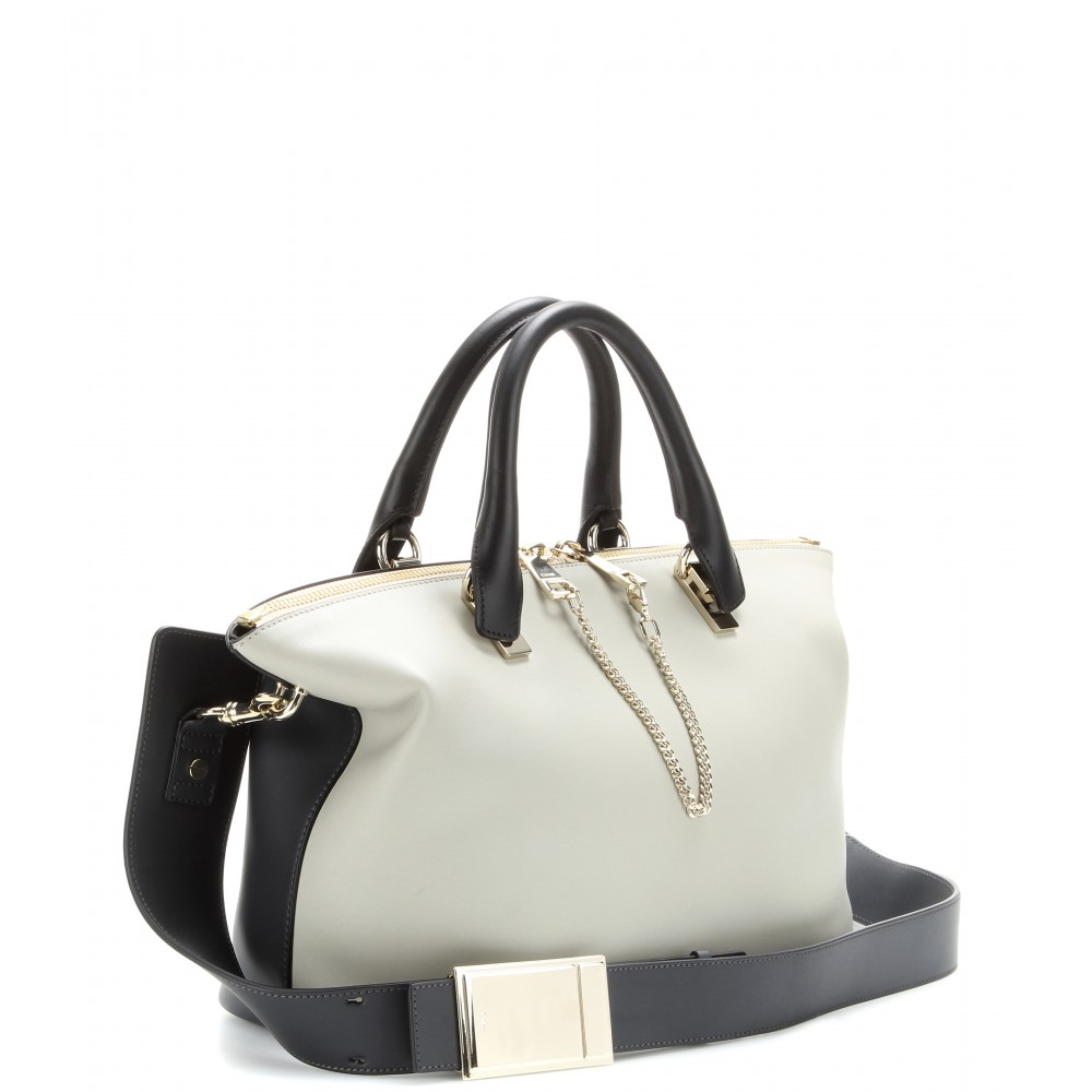 Chlo¨¦ Baylee Medium Leather Tote in Black (marshmallow grey made ...