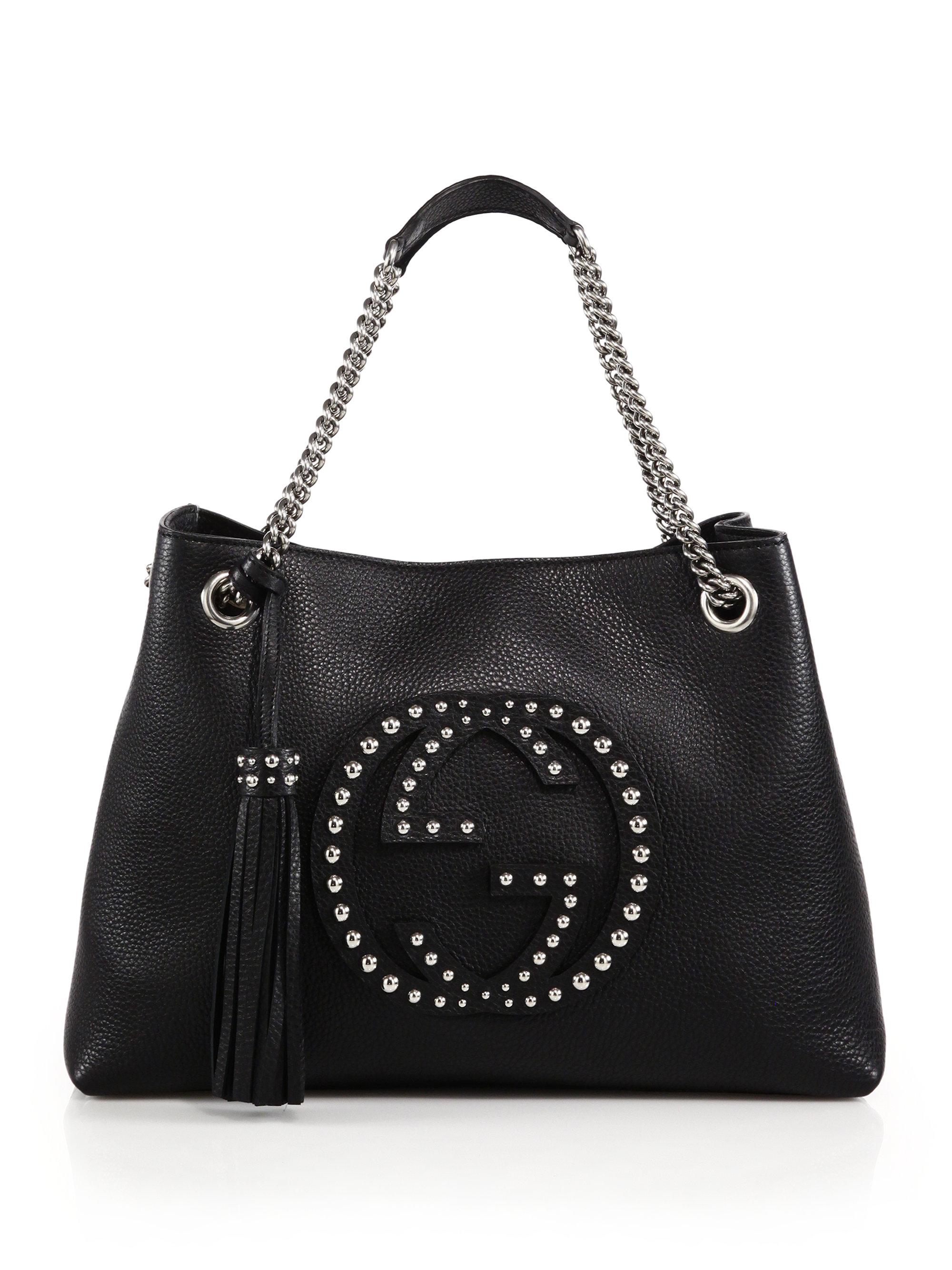 lyst gucci soho medium studded leather chain shoulder bag in black. Black Bedroom Furniture Sets. Home Design Ideas