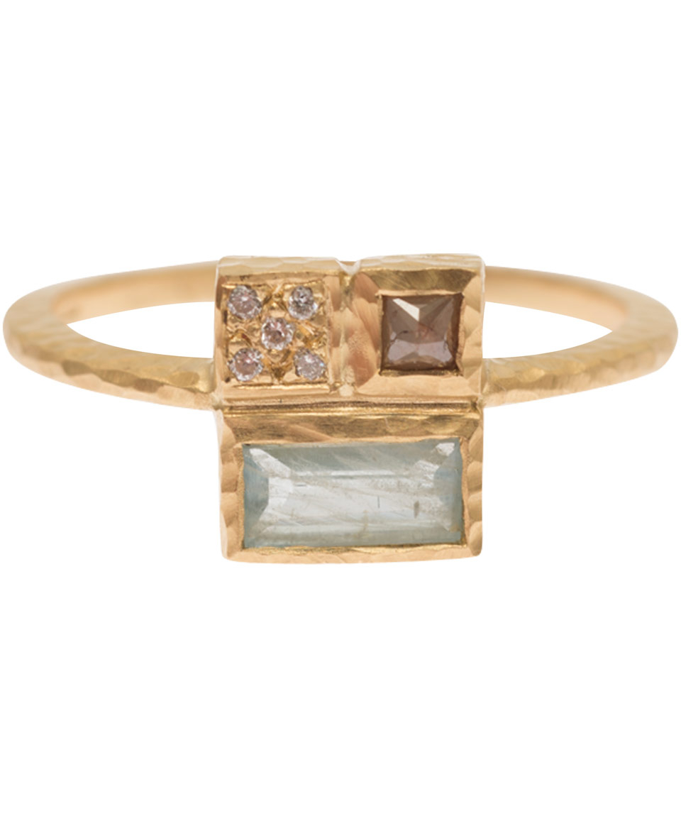 Nak armstrong gold diamond and aquamarine princess cut for Nak armstrong wedding ring