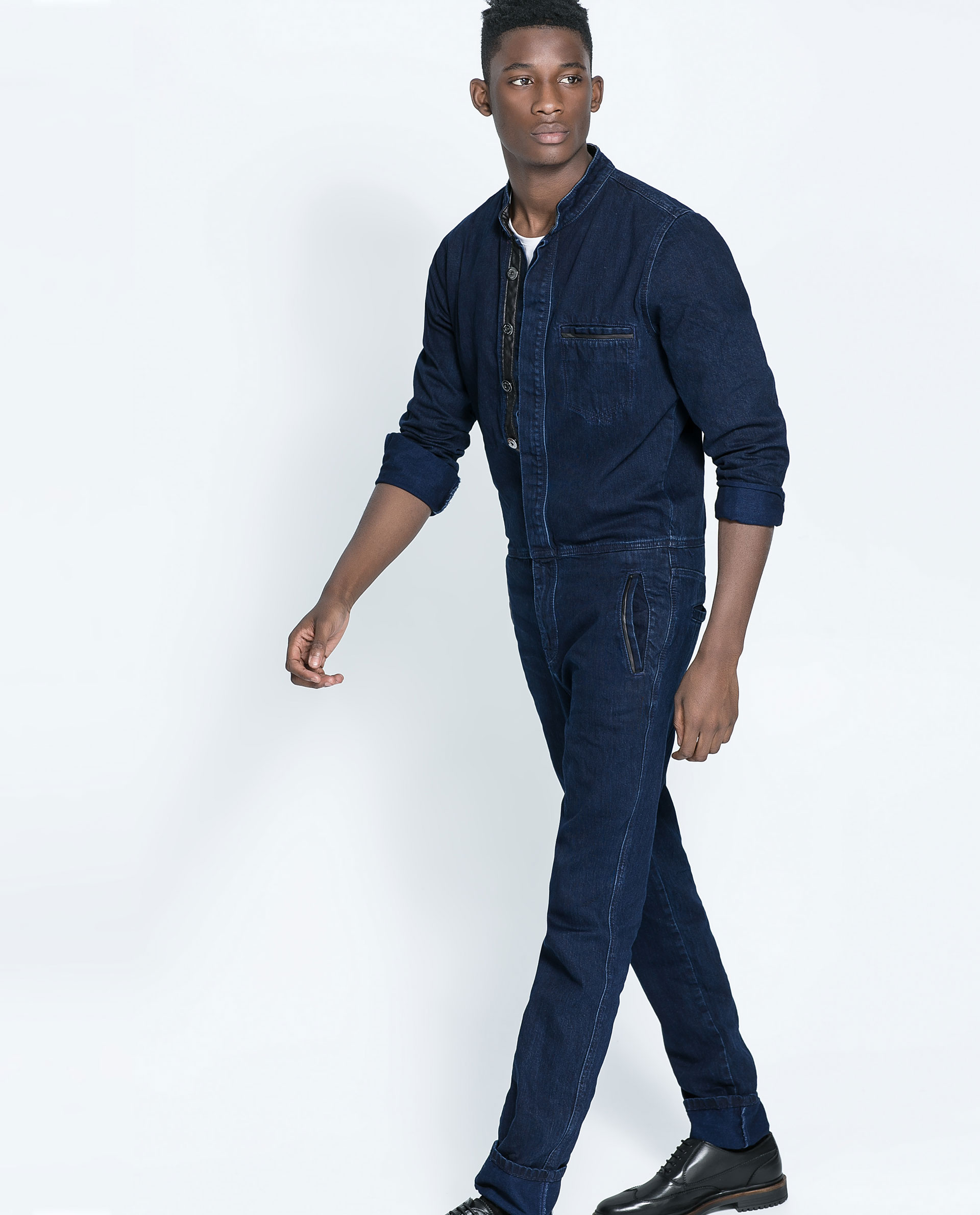 Zara Denim Jumpsuit With Faux Leather In Blue For Men | Lyst