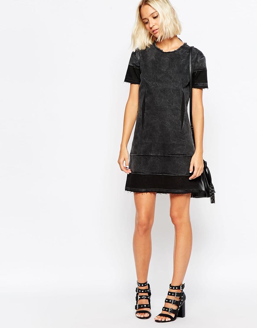 Black dress jean shirt - Gallery Women S Distressed T Shirts Women S Raw Edged Denim Women S Denim Dresses