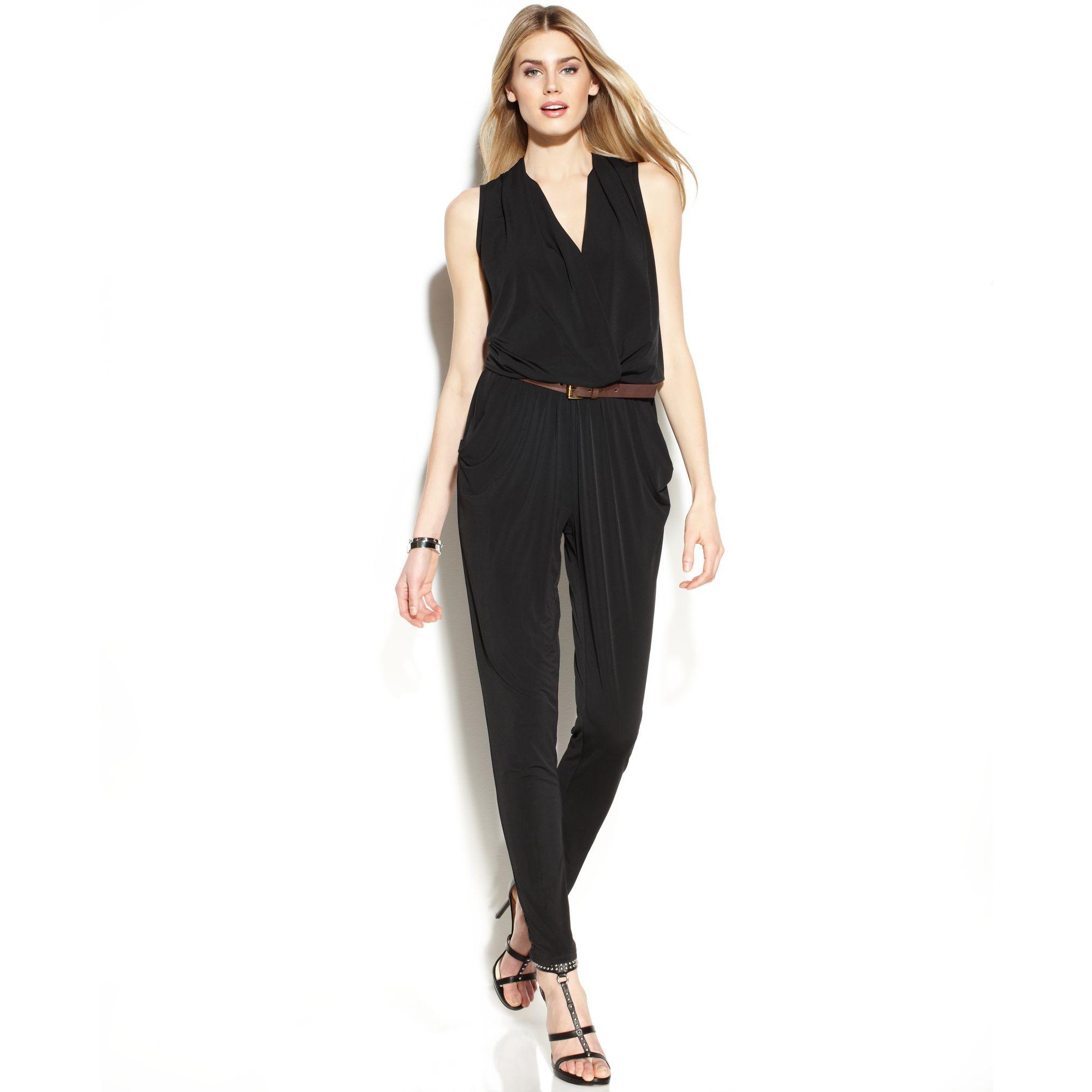 michael kors michael sleeveless belted jumpsuit in black lyst. Black Bedroom Furniture Sets. Home Design Ideas
