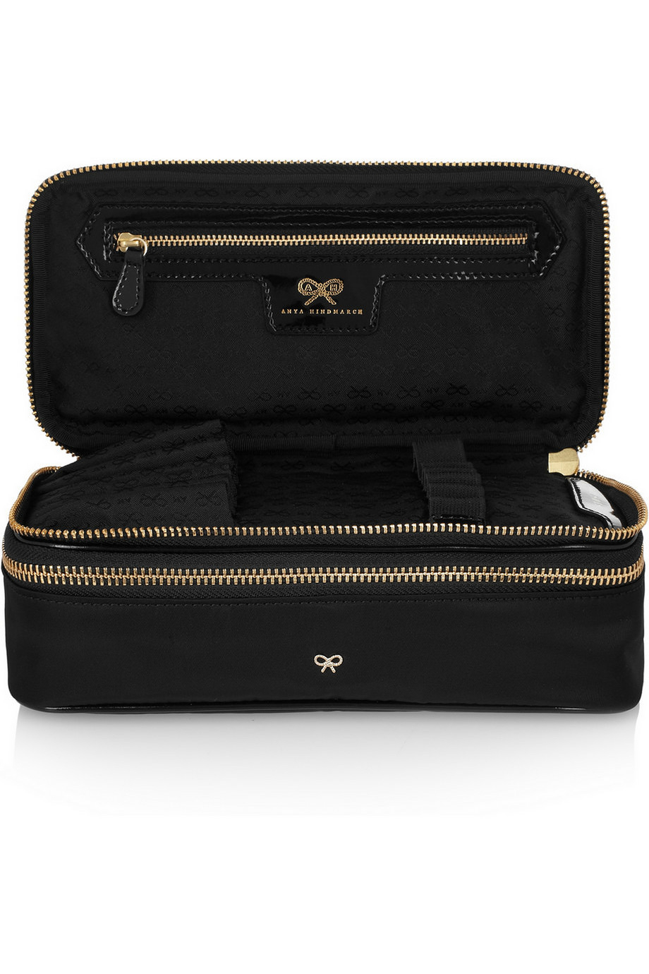 Lyst - Anya Hindmarch Make-up Ii Medium Patent Leather-trimmed Cosmetics  Case in Black 91a945e0eb52e