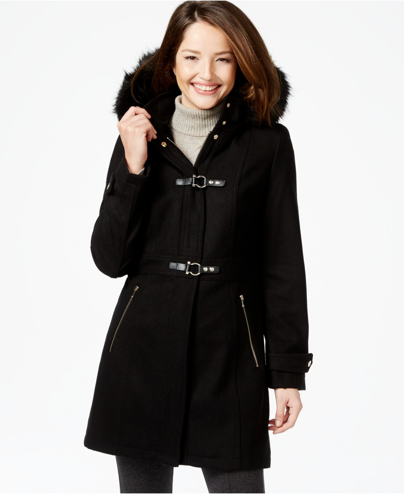Ivanka trump Faux-fur-hood Walker Coat in Black | Lyst